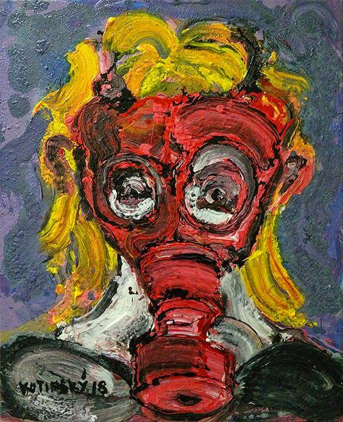 Holčička s plynovou maskou